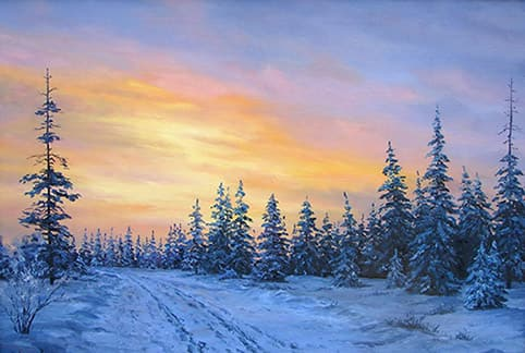 Картина зимний закат