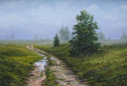 Пейзаж лесной дорога