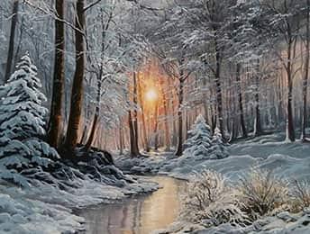 Пейзаж маслом зима