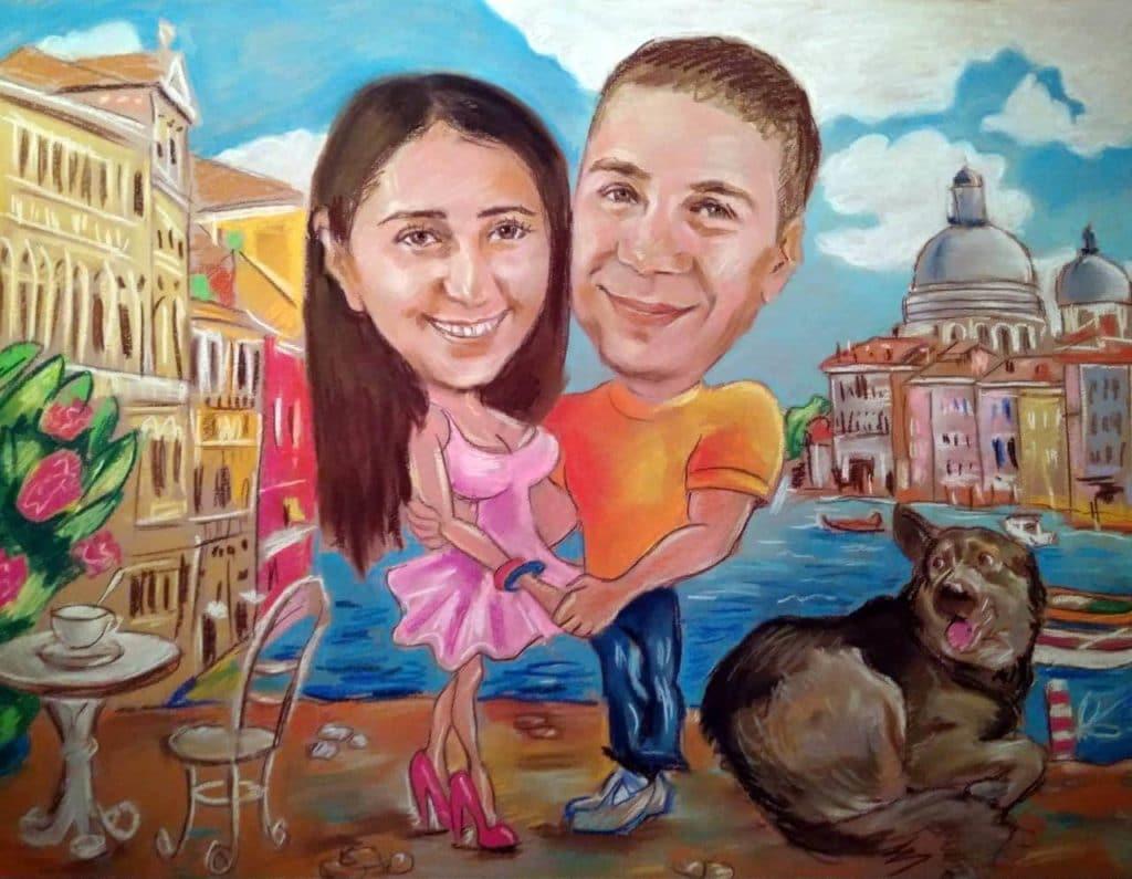 Шарж на Юлю и Олега